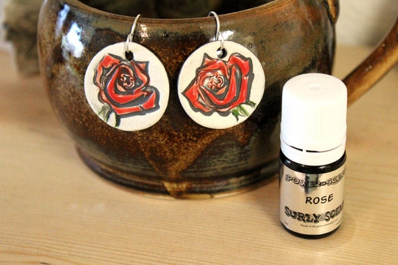 Red Rose Scented Ceramic Earrings with Rose Essential Oil