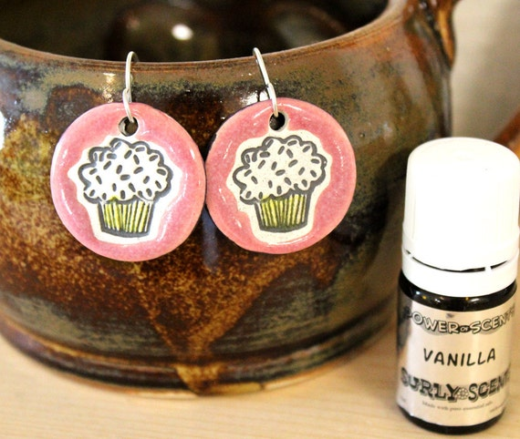 Vanilla Scented Ceramic Cupcake Earrings with Vanilla Oil