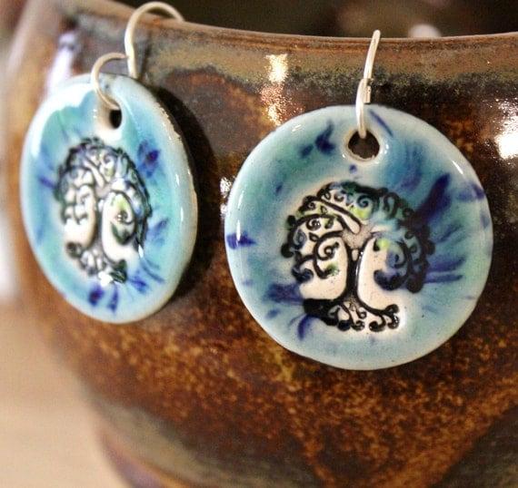 Tree Ceramic Earrings in Blue