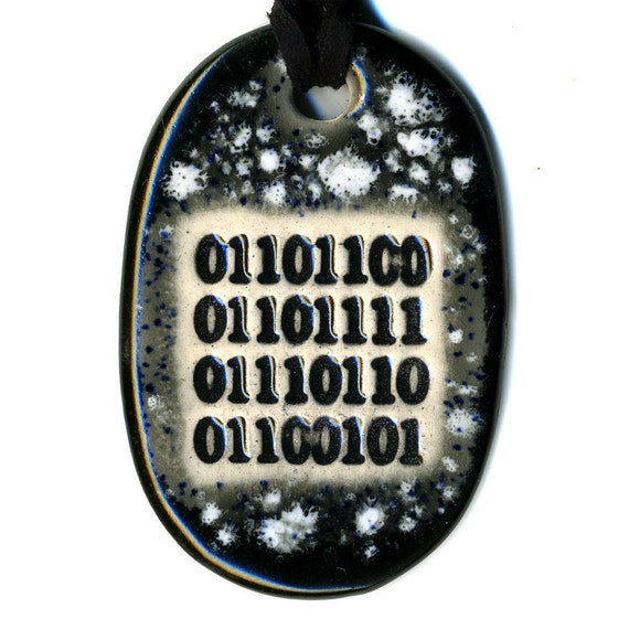 love in (ASCII) Binary Code Ceramic Necklace in Black and gray