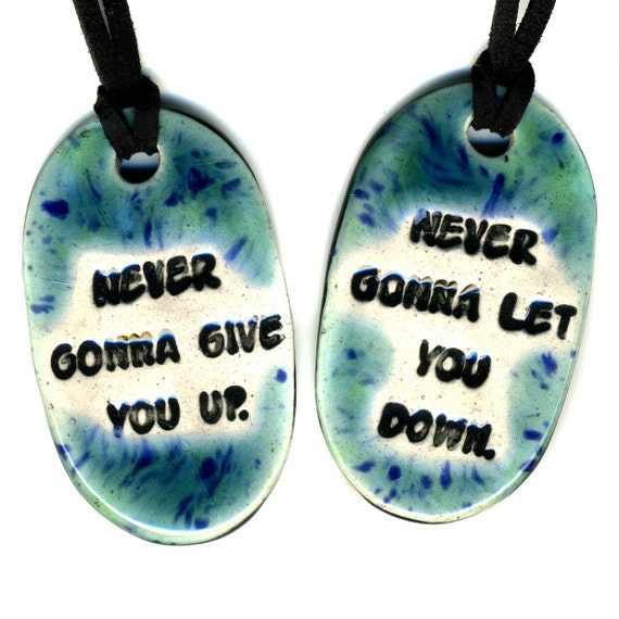 Best Friend Ceramic Necklace Set in Blue and Green