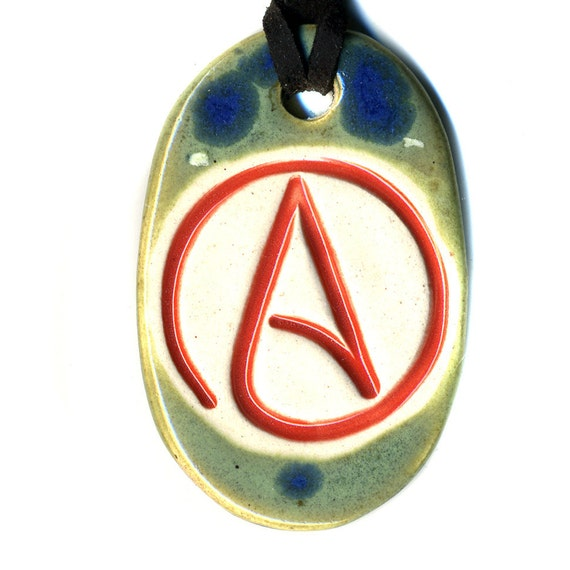 Stylized Ceramic Atheist Necklace in Blue and Green
