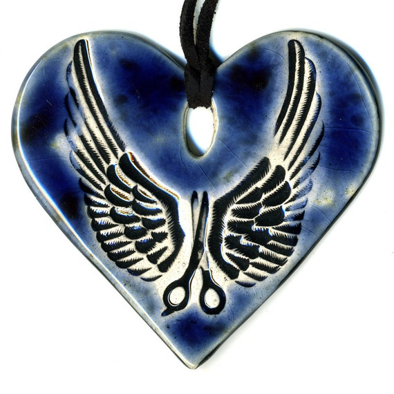 Scissors with Wings Ceramic Necklace in Dark Blue