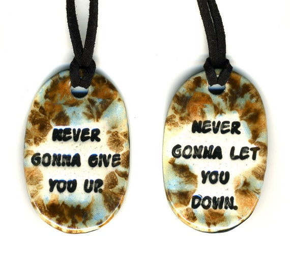 Best Friend Ceramic Necklace Set in Blue and Brown