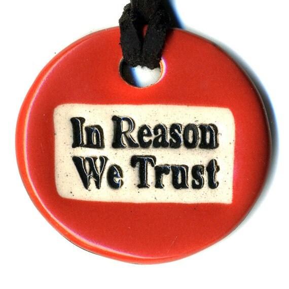 In Reason We Trust Ceramic Necklace in Tomato Red