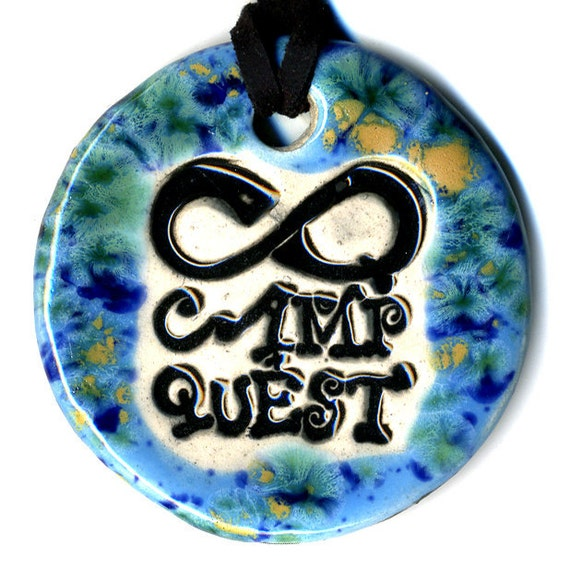 Camp Quest Fundraiser Ceramic Necklace in Speckled Blue