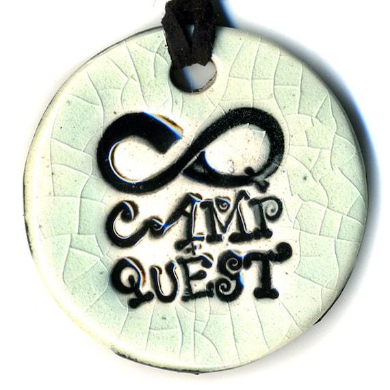 Camp Quest Fundraiser Ceramic Necklace in Crackle