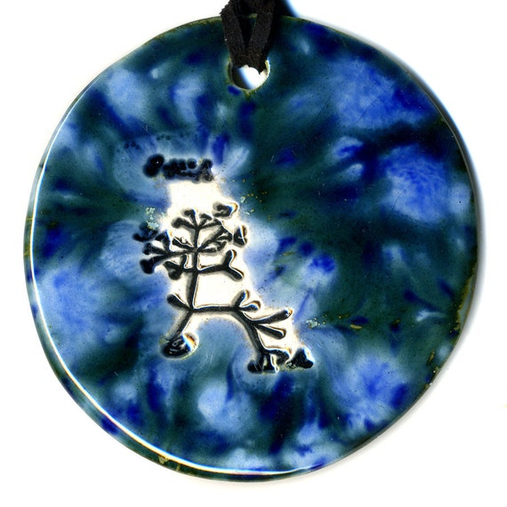 Darwin Tree Ceramic Necklace in Blues Large