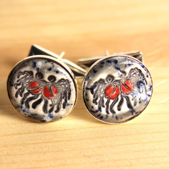 Flying Spaghetti Monster Silver Plated Ceramic Inlaid Cufflinks