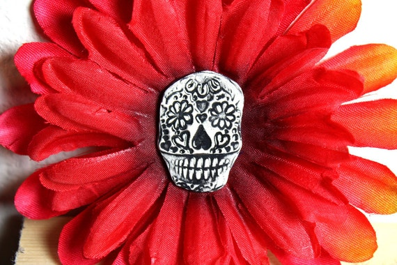 Day of The Dead Hair Clip with Ceramic Sugar Skull Center in Red