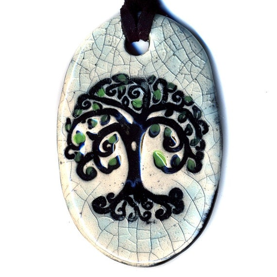 Tree above and Below Ceramic Necklace in Crackle
