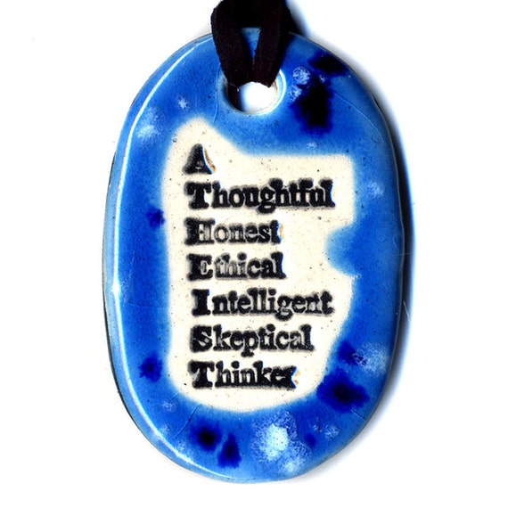 Atheist Ceramic Necklace in Spotted Blue