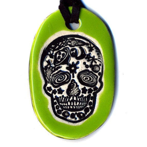 Space Day of the Dead Skull Ceramic Necklace in Green
