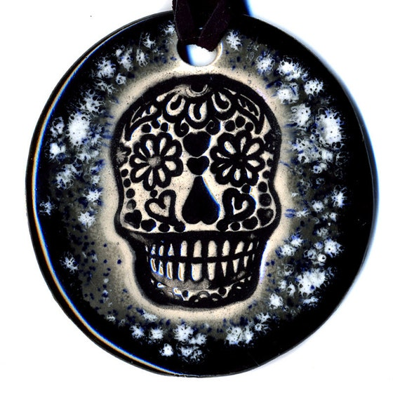 Calavera or Sugar Skull Ceramic Necklace In Speckled Gray