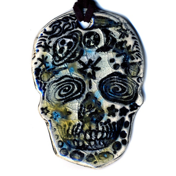 Space Day of the Dead Skull Ceramic Necklace in Crackle Glass Large