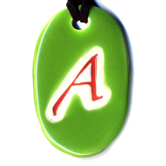 The Scarlet Letter Ceramic Atheist Necklace in Green