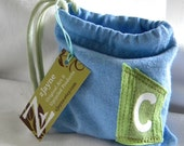 Something Blue for Wedding Custom Letter Initial Pouch Bag ONE repurposed t shirt sleeve CHOOSE COLORS