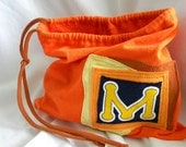 M is for Mom Larger Initial Pouch ONE Letter upcycled repurposed t shirt sleeve Custom Choose COLORS