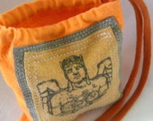 Bicycle Guardian Pill Pouch ONE Upcycled Jewelry Gift Bag/ Party Favor / Custom 4.5 inch by 4 inch