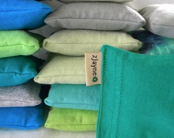 Natural green Dryer Sachet Sheet Alternative pillows SET of THREE 100% upcycled from tShirt materials