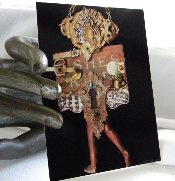 She's Come Undone Original Art Postcard Print Art Assemblage by zJayne