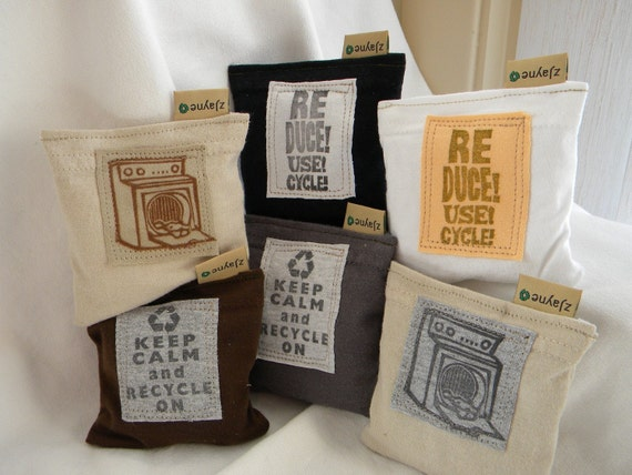 One of Each Patch Dryer Pillow Sheets Upcycled from tShirt Material SET of THREE