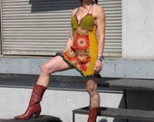 Southern Sun Crochet and Corduroy Picnic Dress with Flower Power fleece sz Sm Med by Krisztina Lazar Playa Festival wear