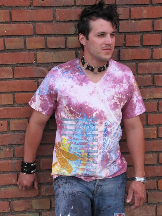 Dude Shirt No 3 Starry Eyed Surprise Tie Dye with layered Screenprint sz ML