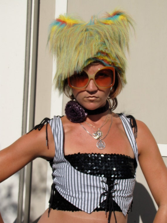 Cyber Rainbow Kitty Faux Fur Monster Hat by Krisztina Lazar