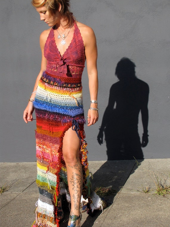 Reserved for KATE  Rainbow Kaleidoscope Crochet Dress Halter Long Gown Upcycled Vintage and Yarn Leftovers by Krisztina Lazar