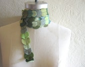 sample sale - moss green felt circles skinny scarf, the littlest bean by jen menkhaus