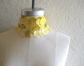sample sale - mustard yellow felt circles skinny scarf, the littlest bean by jen menkhaus