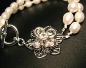 Pearl Bracelet with Silver Swarovski Crystal Flower