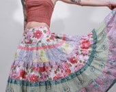 Secret garden patchwork  tiered hippie bohemian gypsy shabby chic long maxi bustle skirt