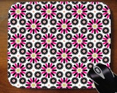 Decorative Mouse Pad Mousepad for Home or Office -- Pink Black Mod Circles