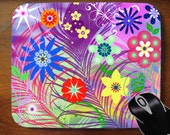 Mouse Pad Mousepad for Home or Office -- Bright mod spring flowers