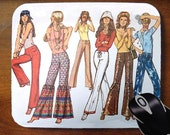 Vintage Mod Girls Hippie Chicks Image on Mouse Pad Mousepad for Home or Office