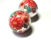 2 Japanese Tensha with Sakura Cherry Blossoms Beads on Silver Pearl background