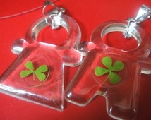REAL natural Four 4 Leaf clover charms -- when sally met harry