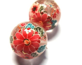 2 Japanese Tensha with Sakura Cherry Blossoms Beads on Clear background