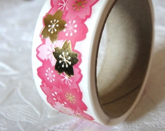 Last Japanese Hot Pink Sakura and Gold Scalloped edges Chiyogami Sticker Gold Tape