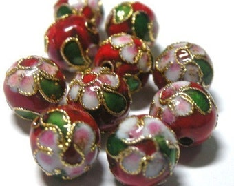 10 Cloisonne beads -- Red Floral Rounds