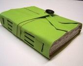 Acid Green Leather Longstitch Notebook / Journal / Sketchbook - free ship