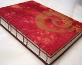 Red & Gold Coptic bound Journal / Sketchbook with Mixed Papers