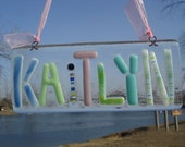 personalized fused glass name plate wall hanging