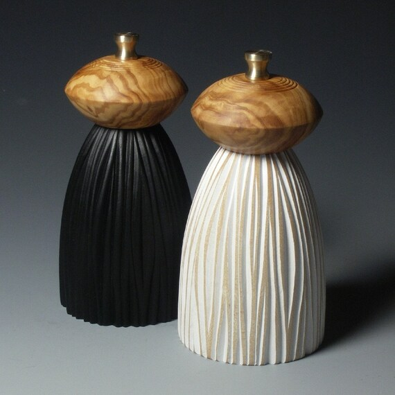 Black and White Mills (short with olivewood tops)  Made to order