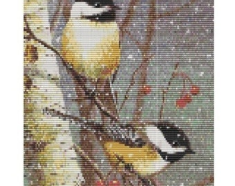 Two Winter Birds, pattern for loom or peyote