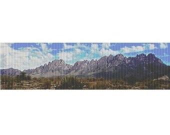 Organ Mountains panorama-sideways, pattern for loom or peyote