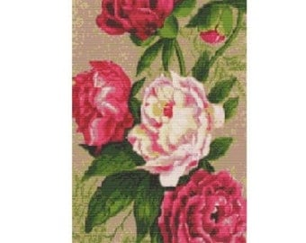Antique Roses, bead pattern for loom or peyote
