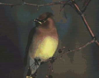 Cedar Waxwing, pattern for loom or peyote